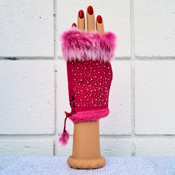 Hot Pink Star- Studded Fingerless Gloves