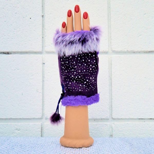 Purple Star- Studded Fingerless Gloves